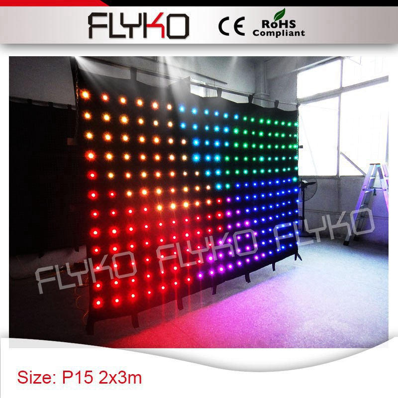 Free shipping 2x3m P15 LED Disco Light dj stage video curtain roof top ceiling star light led curtain display