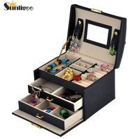 Sunligoo Hot Sale PU Leather 3 layers 2 drawers Jewelry Packaging Box Elegant Storage Organizer Carrying Boxes Case For Jewelry