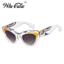 Que Linda 2018 grueso de ojo de gato gafas de sol mujer marca diseñador  patrón único 6182aaf73d98
