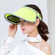 2017 Nova Dupla Chapéus Viseira Feminina Verão chapéu de Sol Vazio Top Cap  Unisex Sólidos UV 5e7feeb58b5