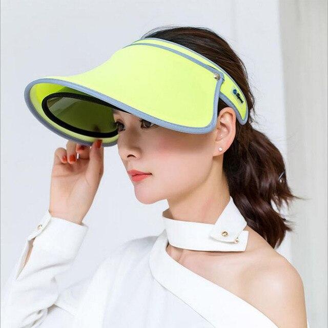 2017 Nuevo doble sombreros visera del verano femenino Sol vacío tapa  superior sólido unisex UV Sol 68fb825a471