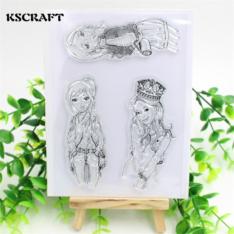 KSCRAFT Lovely Girls Transparent Clear Silicone Stamp/Seal for DIY scrapbooking/photo album Decorative clear stamp sheets lovely bear and star design clear transparent stamp rubber stamp for diy scrapbooking paper card photo album decor rm 037