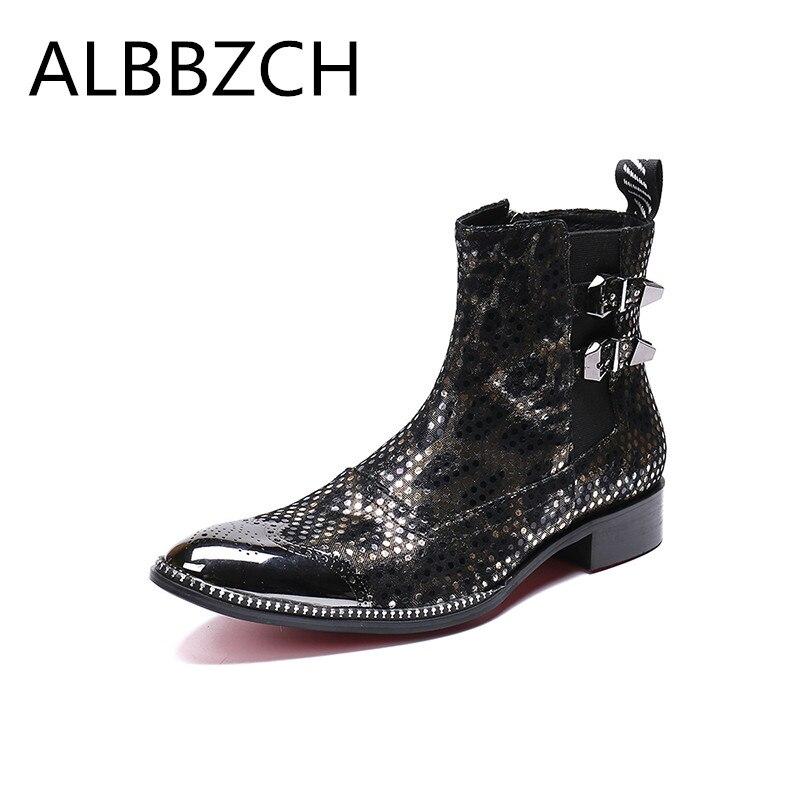 Fashion Men Shoes Pointed Toe Ankle Boots Genuine Leather Shoes Men Zip Buckle Winter Autumn Cowboy Boots Career Work Shoes Men