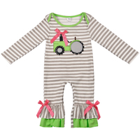 New Fashion Baby Romper Girls Boutique Clothes Newborn Tractor Embroidery Gray Stripped Boy Rompers Spring Clothes