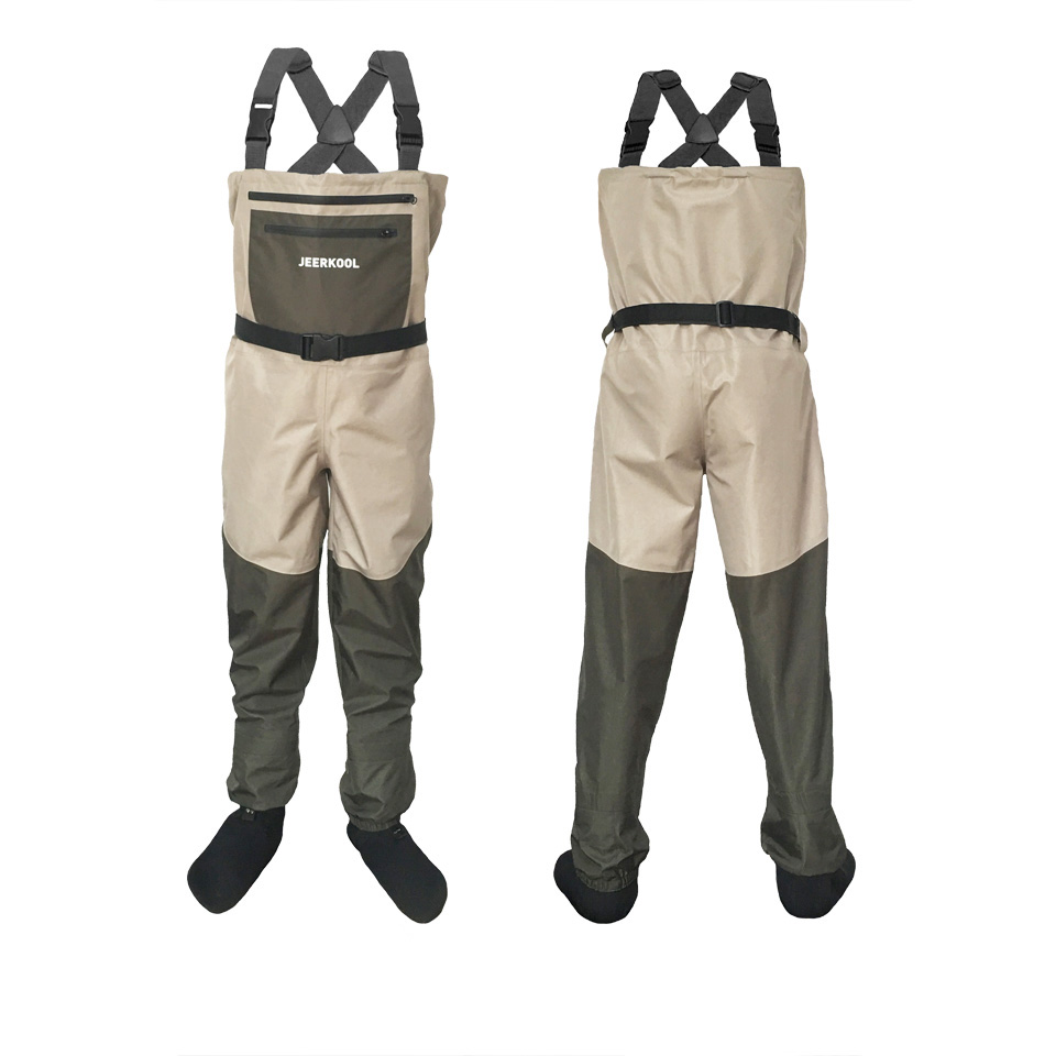 JEERKOOL Fly Fishing Wader Clothes Portable Chest Overalls Waterproof Pants With Foot Waders Respirant Boots Hunting Shoe Zy