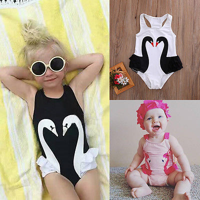 909d3d18a8d Toddler Kids Baby Girl Swan One-Piece Swimsuit Bikini 2019 Swimwear Girl  Banadores Swimming Sui