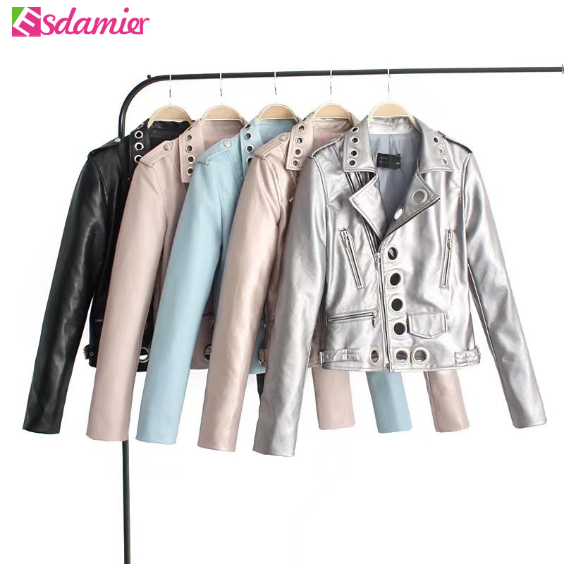 New Fashion Metal Loops Stitching   Leather   Jacket Women Black Silver Motorcycle Jacket Femme Coat Chic Hollow Faux   Leather   Jacket