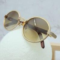 Retro Wood Full Diamond Sunglasses Popular Decoration Eyewear Men Sunglasses Women Carter Sun Glass Outdoor Vintage Shades