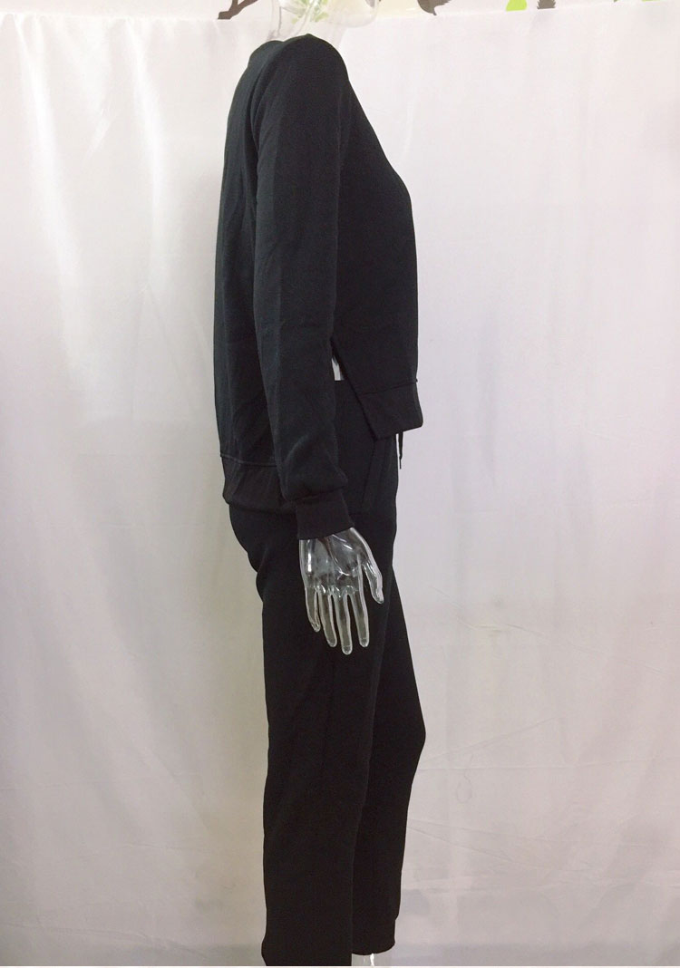 Women Tracksuit Long Sleeve Slit Solid Sweatshirts Casual Suit Women Clothing 2 Piece Set Tops Pants Sporting Suit Female 17