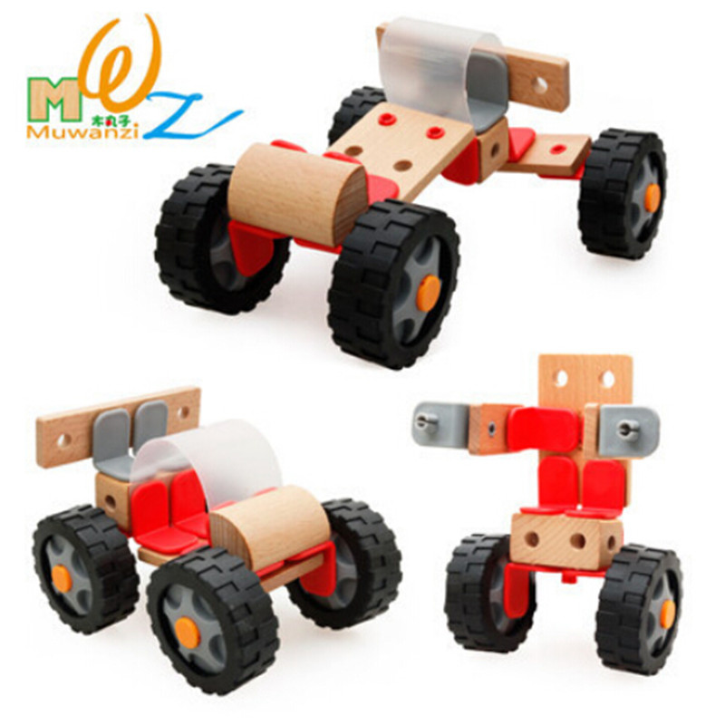 children toy product assembling wooden car assembly intelligence toy factory direct sale kids model buildong kits