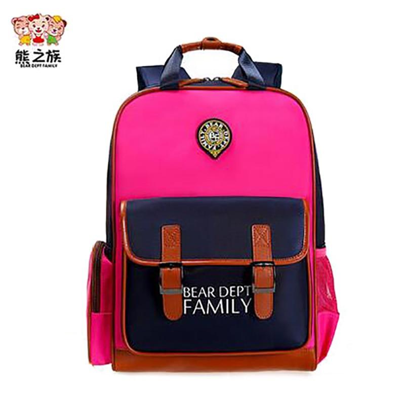 BEAR DEPT FAMILY Children Schoolbags Orthopedic BackpackS Kindergarten Boys Girls School Kids Schoolbags Book Bag schooltas