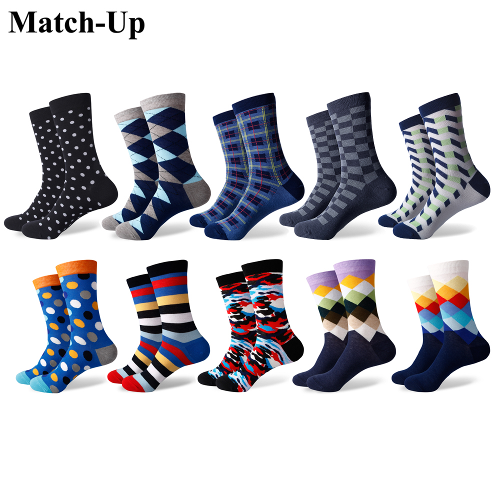 Match-Up  Men's Colorful Combed Cotton Socks Casual Dress Crew Cool Series Socks (10 Pairs/lot)