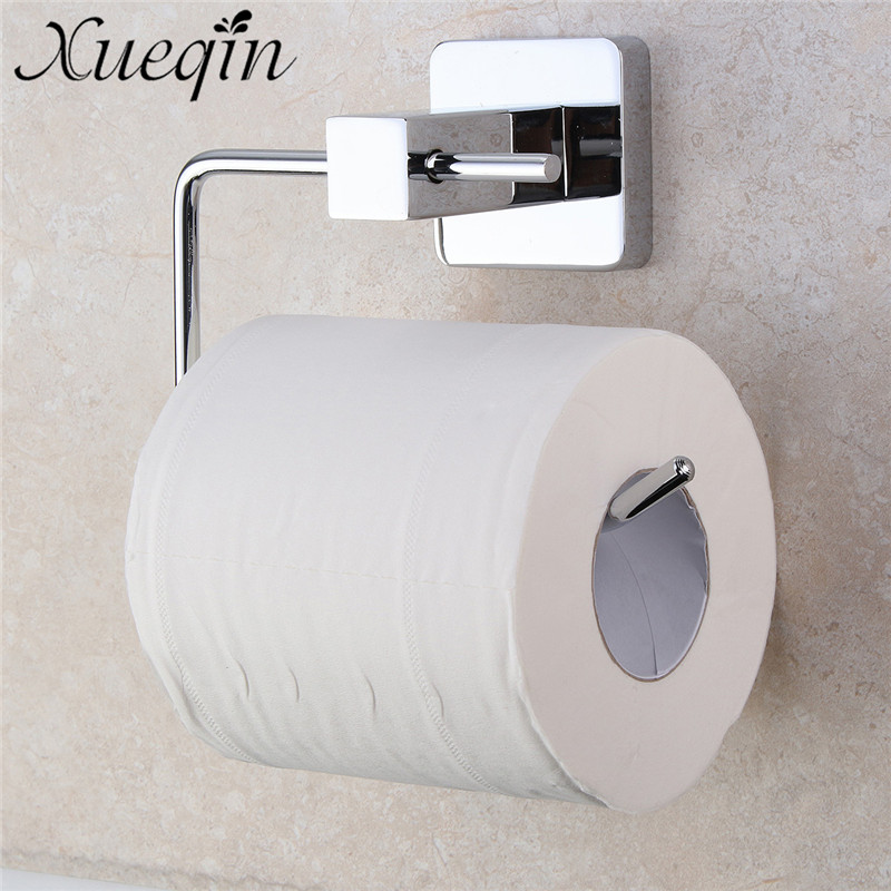 Xueqin Stainless <font><b>Steel</b></font> Paper Roll Tissue Holder <font><b>Towel</b></font> Hook Bar Wall Mounted Chrome Plated Bathroom Toilet Storage Shelf Stand