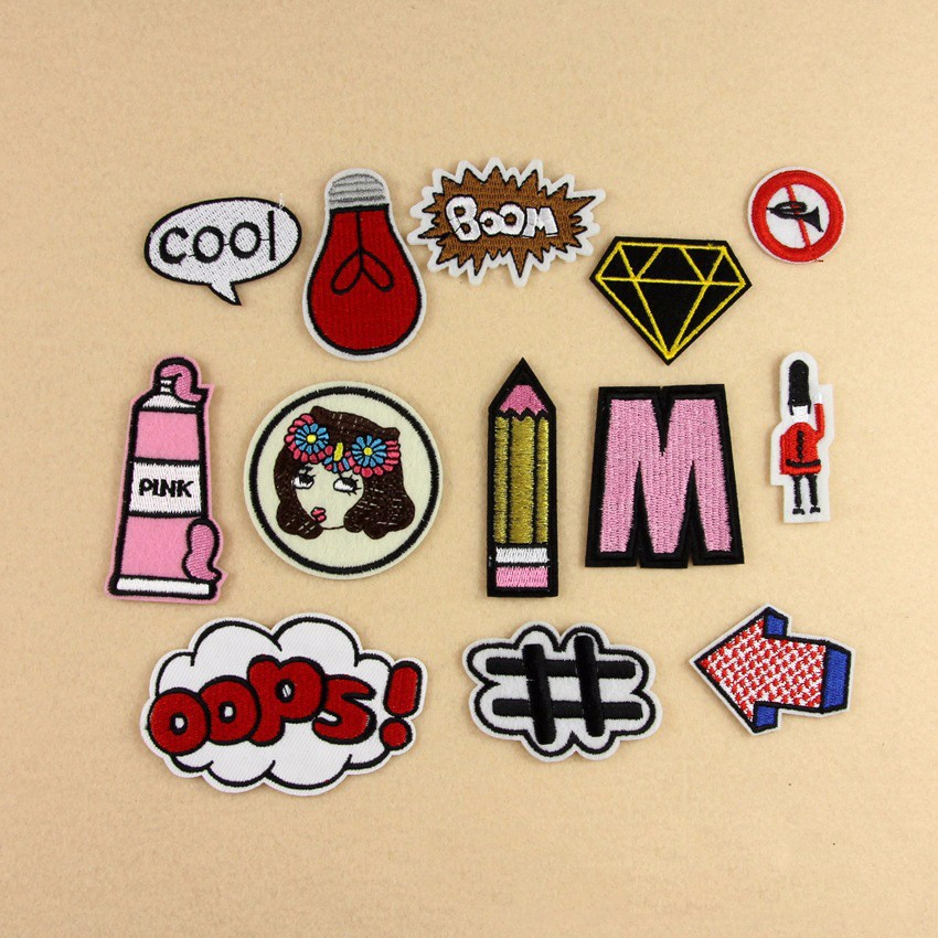13pcs/lot Mixed Cartoon WOW pencil Patches For Clothing Iron On Embroidered Appliques DIY patch Fine embroidery cloth badges
