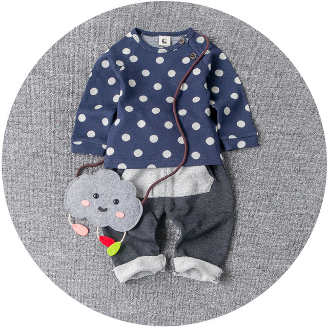 Spring Full Sleeved Knit Little Boy Suit Casual Korean Style Dot Two Piece Baby Boys Clothes Set