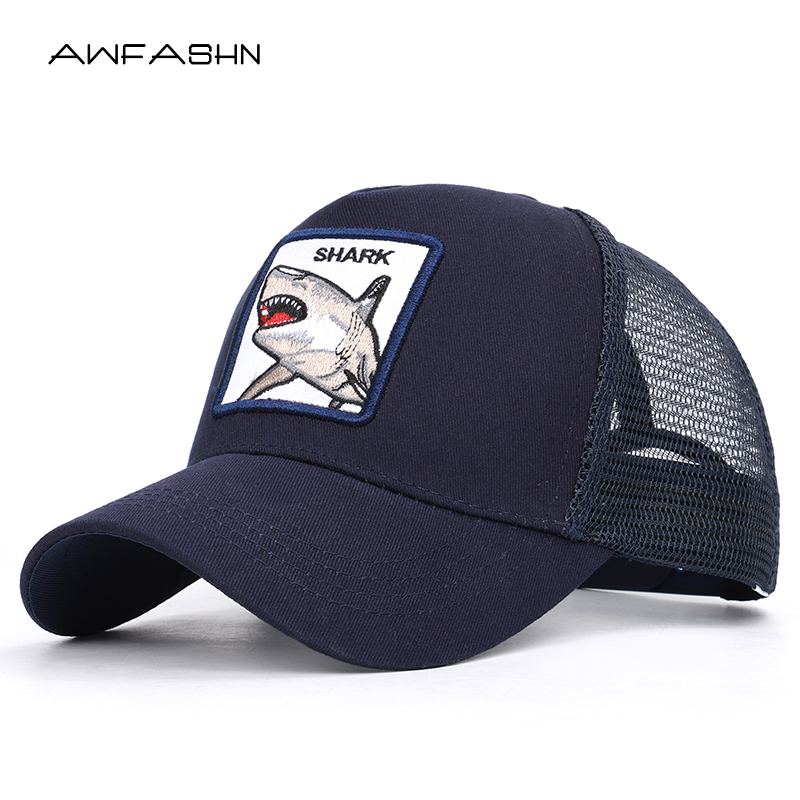 Animal Shark Embroidery   Baseball     Cap   Men's and Women's Universal Adjustable High Quality Outdoor Shade Dad Hat Truck Driver   Caps
