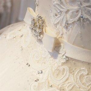 Image 5 - Vestido de noiva longo de renda de tule, vestido de baile, capela, trem, laços, miçangas, vestido de noiva personalizado
