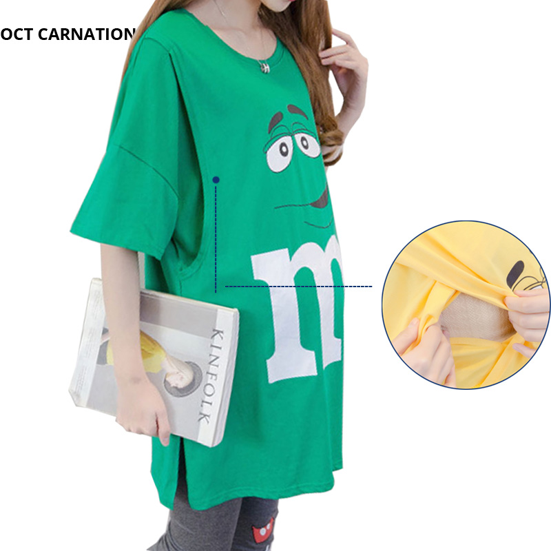 76b4236be6a Short Sleeve Long Style Nursing Shirt Pregnant Women T shirt Print Letter  Summer Funny Maternity Tee Blouse Breastfeeding -in Tees from Mother & Kids  on ...