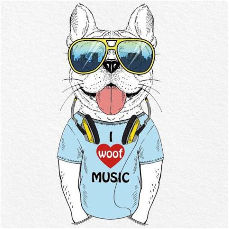 T shirt patch Diy cartoon sunglasses dog 278mm pattern brand logo iron on patches for clothing transfer printing clothes sticker