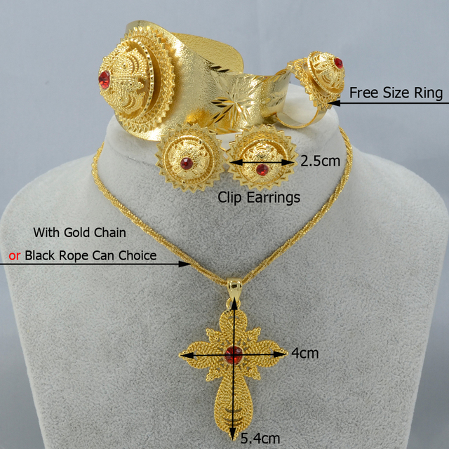 Habesha wedding gifts ethiopian cross sets jewelry necklace/earrings/ring/bangle  gold plated africa eritrea set #0002A200