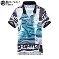 Mens Brand Cotton Polo Shirts Turn-Down Collar Summer Style Short Sleeve 3D Print Polo Shirt Men DT499