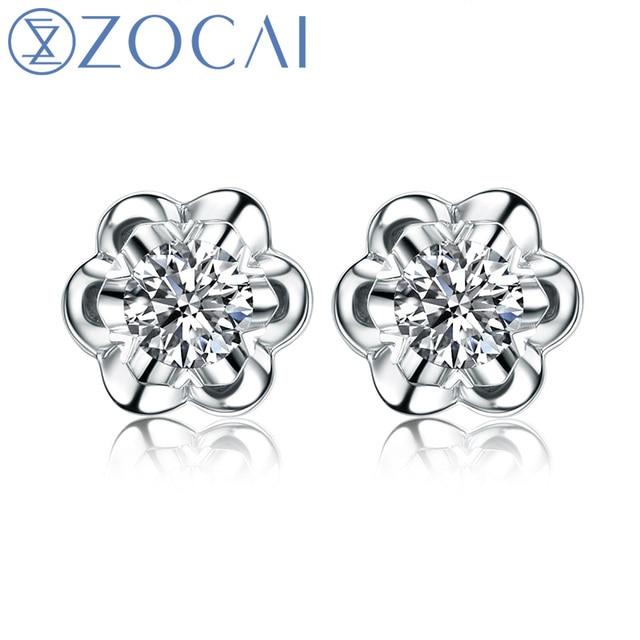 "ZOCAI Para Para Sakura ""0.3 Carat Diameter Effect "" 0.1 CT Certified 18K White Gold Round Cut Diamond Stud Earrings E00387"