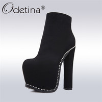 Odetina 2017 New Fashion Super Thick High Heel Platform Ankle Boots Crystal Side Zipper Sexy Ladies