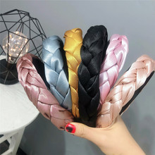 Top Fashion Women Wide Satin Braided Twist Hairbands Solid Vintage Headbands Handmade Quality Hair Holder Simple Bands