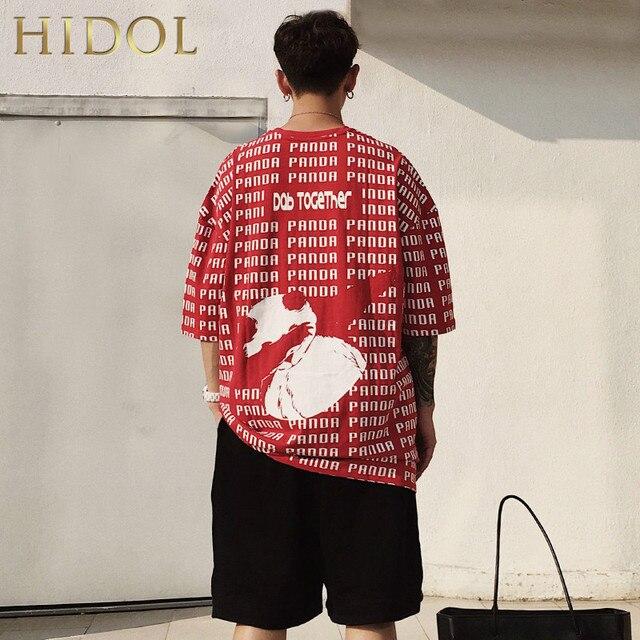 044feae32 Big Oversize T-shirt Panda Full Letter Print T shirt Hip Hop Streetwear  Short Tshirt Men Brand Clothing Swag Tee Black/White/Red