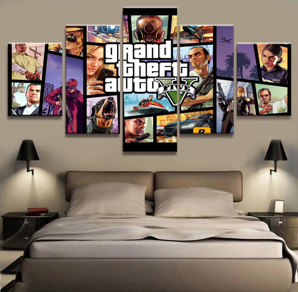 Mode Leinwand Malerei Wand Kunstdrucke 5 Panel Spiel Charakter Dekoration Landschaft Bilder Fr Wohnzimmer Gerahmte