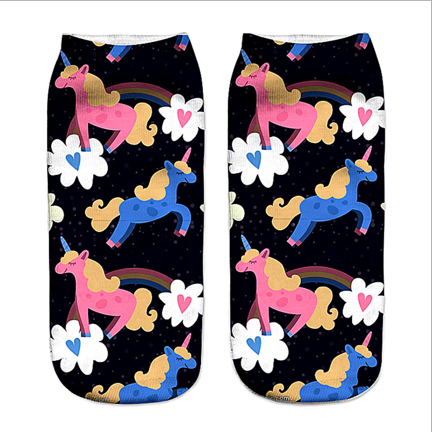 3D Print Unicorn Socks Girls Kawaii Ankle Licorne Chaussette Femme Calcetines Mujer Cute Emoji Art Happy Kids Long Cotton Socks