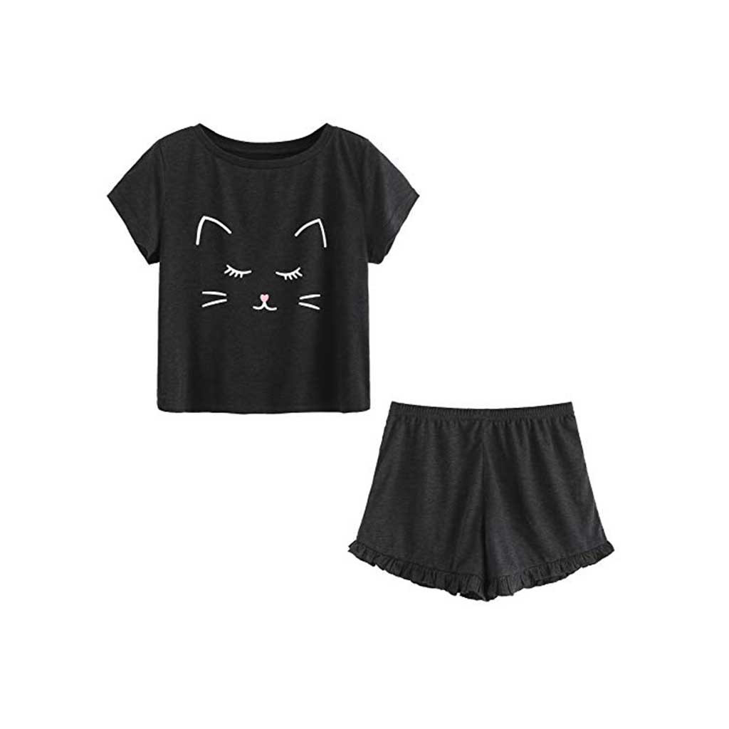 Autumn,Summer Polyefor Simple Women's Casual Cat Shorts Short Sleeve Ruffled T-Shirt Sleepwear Nightwear Set #G40