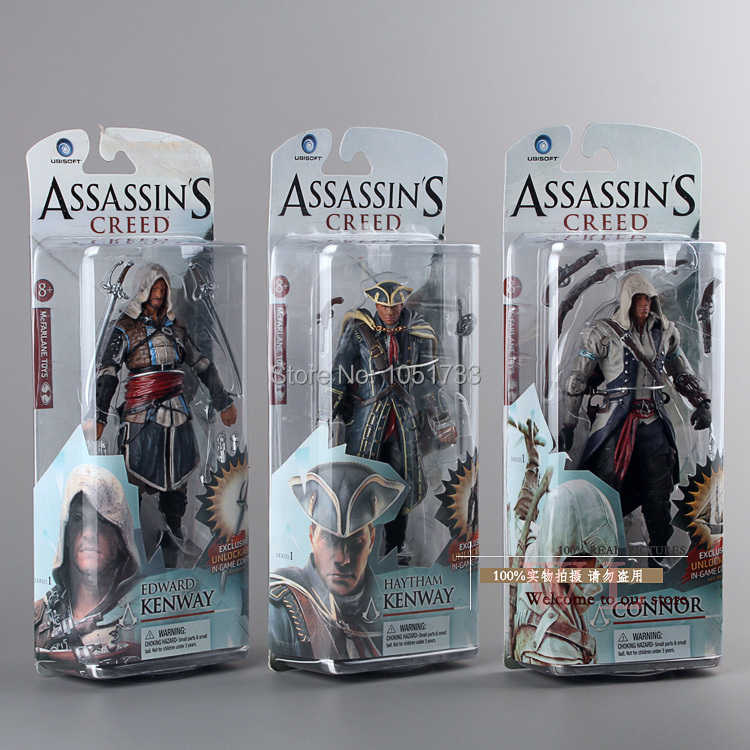 Assassins Creed 4 Black Flag Connor Haytham Kenway Edward Kenway PVC Action Figure Toys 6 14CM MVFG127 animation assassins creed necklace set black flag rings necklace boxed figures toys
