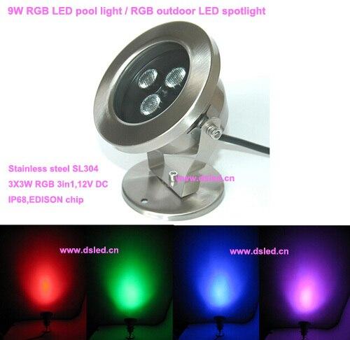 Livraison gratuite par DHL bonne qualité, IP68, 9 W LED lumière de fontaine rvb, lumière LED sous-marine, 12 V DC, DS-10-41B-9W-RGB, tension constante