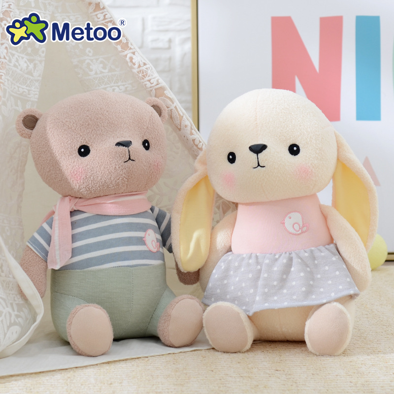 Metoo Cute Doll Soft Plush Stuffed Rabbit Kawaii Animals Inflatable Toys For Girls Baby Kid Children Christmas Birthday Gift wvw cartoon stitch soft stuffed animals toy baby doll toys for girls children birthday gift mini stuffed animals cute plush toy