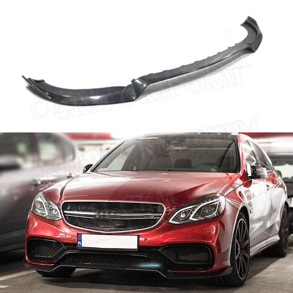 Pour W212 fibre de carbone avant lèvre becquet menton Splitters pour Benz E classe E260 E300 E400 E63 AMG 2014-2016 voiture pare-chocs protecteur