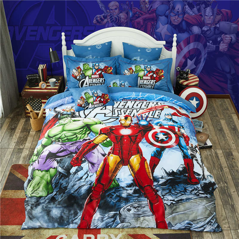 Disney 3d avengers reactive printing bedding set boy single full twin queen size bed line children blue cotton bed cover set Disney 3d avengers reactive printing bedding set boy single full twin queen size bed line children blue cotton bed cover set
