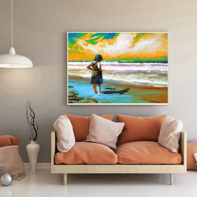 Oil painting canvas print a little girl stood by the sea sunset beach wall art seascape