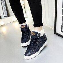 40 high top de mode de femmes d'hiver chaussures 2017 nouveau denim chaussures de toile des femmes chaud casual bottes de neige botas invierno mujer casual