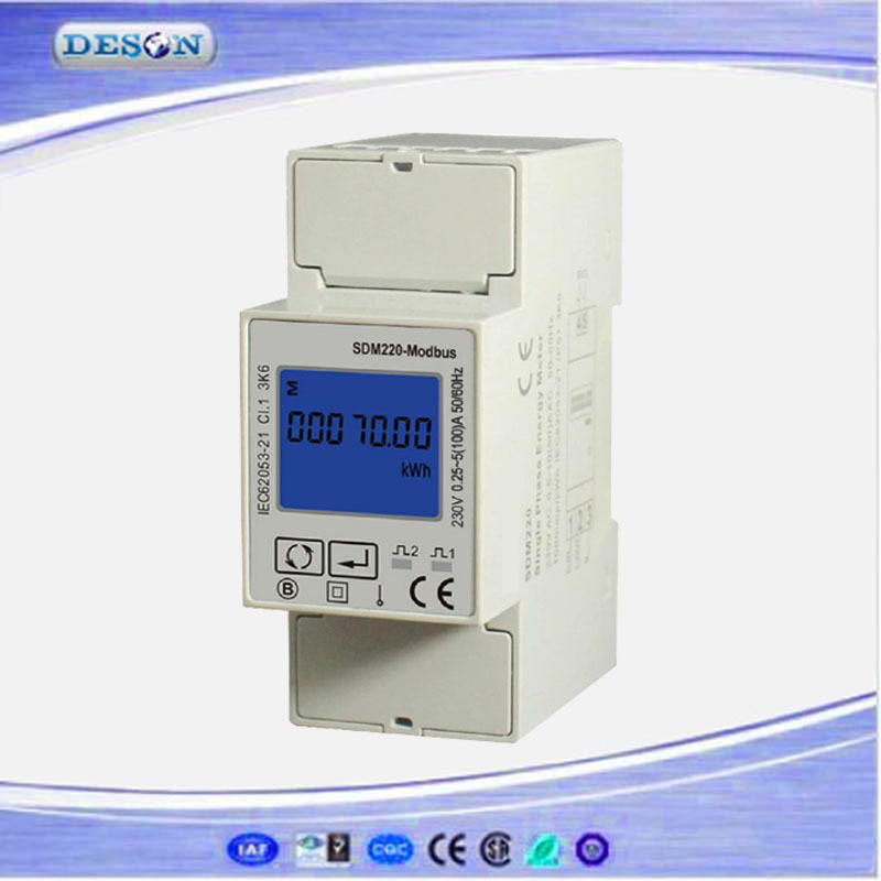 <font><b>SDM220</b></font> Modbus RS485 Single Phase KWH Energy Meter, DIN Rail Multimeter, Digital LCD Energy Meter AC230V image