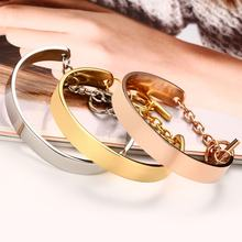 Meaeguet Chain Open Bangle Rose Gold Color For Trendy Women Cuff Bracelet Bangles Jewelry