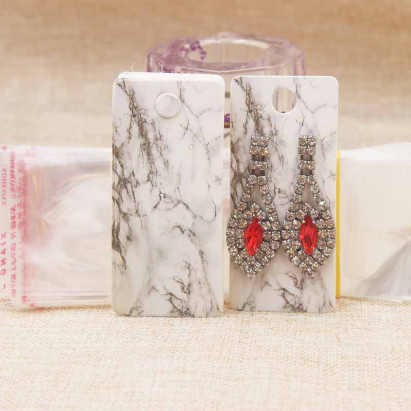 25card+25opp Bags Earring Cards Jewelry Display Cardboard Plastic Bags Protection Beauty Design Fashion Style Paperboard 4cm*9cm