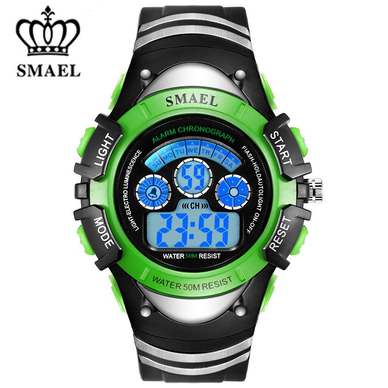 Prix pour SMAEL 50 M Étanche LED Numérique Montres Résistant Aux Chocs Enfants Montre de Sport Date Bébé Garçons Writswatches Enfants Horloge WS0616b