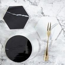 Творческий мраморным принтом подставки чаши изоляцией стол коврики домой скандинавском стиле подставки посуда коврики