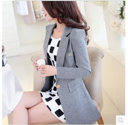 Женский костюм с длинными рукавами куртка женская весна и осень длинный отрезок Тонкий костюм женщин плюс размер пальто и пиджаки