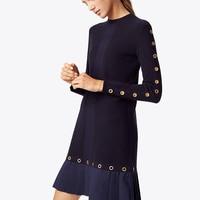 UNIQUEWHO Women Elegant Hollow Out Eyelets Knitted Dress O Neck Long Sleeve Slim Mini Dress Streetwear