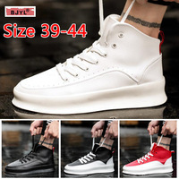 BJYL men loafers sneakers 2019 Student high upper shoe male street dance board shoe thick bottom male shoes leather sneakers