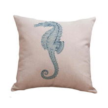 Sea Horse Pillows Home Decor Aquatics Life Star Fish Ocean Creature Cushion Cover for Sofa Coral Seed weed Pillows Case 45x45cm