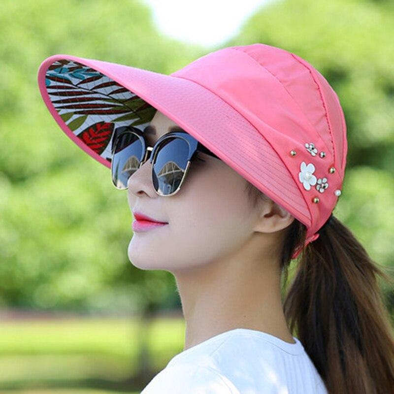 Летние женские шапки, складная Солнцезащитная шляпа с УФ-защитой, солнцезащитный козырек, гибкая шляпа, пляжная шляпа для улицы с большими п...