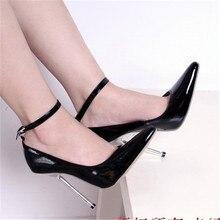 2017 Sexy High heels Extreme high heels Club Party Schuhe 14 cm High Heel Knöchelriemen Pumps Spitz Nude Pumps BIG size 37-44